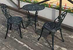 鋳物テーブル3点セット(中) (13036)