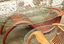 チークガラステーブル(塗装) (36324)