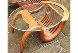 ミニチークガラステーブル(塗装) (36322)